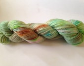 Hand Dyed Yarn - Merino / Nylon - Fingering Weight / Sock Weight Color Change - speckled green orange pink blue