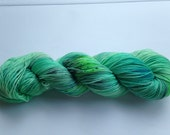 Hand Dyed Yarn - Merino / Nylon - Fingering Weight / Sock Weight Color Change - speckled kelly green, aqua, peacock blue
