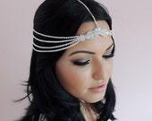 Forehead chain Bridal Headpiece. Art Deco Style Bridal Accessory.1920s Headpiece, Downton Abbey Style Headdress
