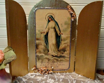 Blessed Mother Altered Art - Religious Tripytch - Hand Assembled - Altered Art Madonna - Holy Mother Altar