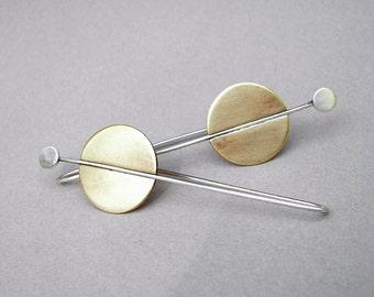 Art deco dangling earrings; long silver and brass contemporary earrings; urban mixed metal deco disc earrings; architectural brass earrings