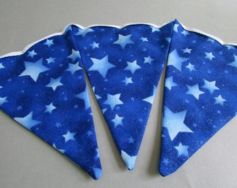 "Double Sided Fabric Bunting, Party Banner, Pennant Flag Garland, Blue Star Pattern, Choice of Length 5 to 9 ft ""Cosmic Blue"""