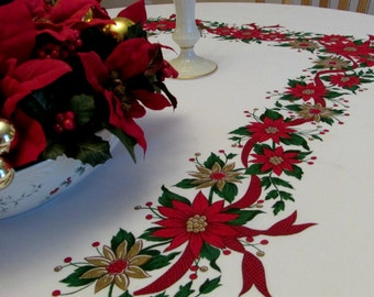 Vintage Christmas Tablecloth, Red, Green, and White, Cotton Tablecloth, Poinsettia Floral Print, 84 inches x 60 inches, Vintage Table Linen