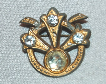 Vintage / Victorian / Antique / C Clasp / Brooch / Rhinestones / Pin / old / jewelry / jewellery