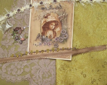 Victorian Crazy Quilt Inspiration Embellishment Kit  Edwardian girl with birds and Pansies