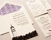Illustrated Wedding Invitation, Letterpress printed SAMPLE