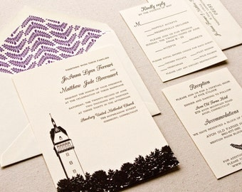Tower Wedding Invitation, Letterpress printed SAMPLE