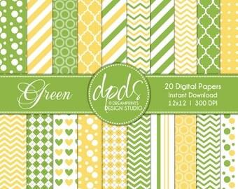 Green & Yellow Digital Paper Pack: 12x12 l 300 dpi l 20 sheets
