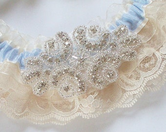 Garter Set, Romantic Ruffled Garter Set with Pearl Crystal Beaded Centering - The JOANNA Garter Set