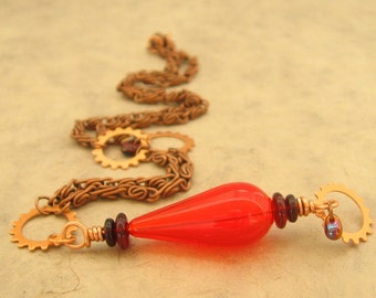 Red Glass and Copper Necklace -  Red Glass Teardrop Steampunk Necklace with Gears