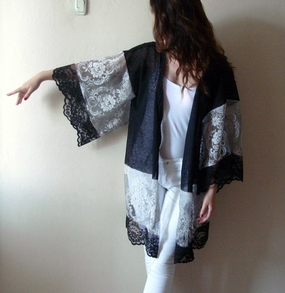 Black lace kimono jacket/ Lace Top Swimsuit Cover Up/Wide sleeved plus size clothing beach kaftans