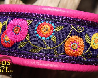"Dog Collar ""Sunshine Flower"" by dogs-art, martingale collar, leather dog collar, floral dog collar, girl dog collar, dog collars, collar"