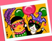 Mardi Gras Party GIRL & CAT Blank Note CARDS - Set of 4 - from Folk Art by Jill