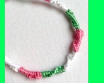Handmade Friendship Bracelet  Watermelon Green Light Pink White -Limited Edition