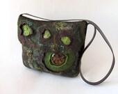 Messenger bag  Original  bag Felted  handbag  felt purse  crossbody bag Green brown