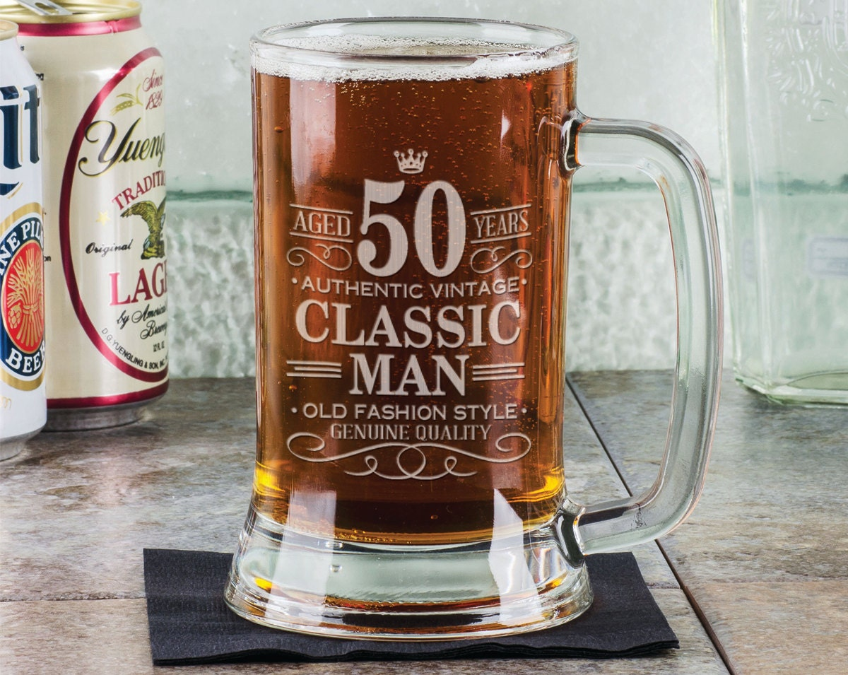 50th Birthday Classic Man 16oz Beer Mug Stein Glass Engraved