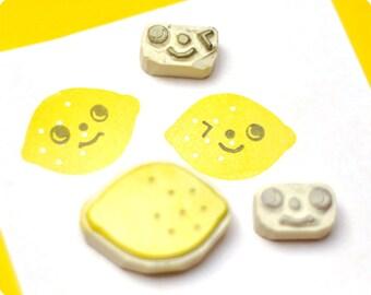 Lemon hand carved rubber stamps set of 3