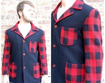 40s 50s Plaid Wool Jacket - 50s Lumberjack Jacket size Medium