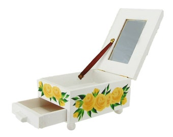 STUDIO SALE - Cute Hand-Painted Jewelry Box - White with Yellow Roses Mirror, Drawer - Girls Keepsake Box