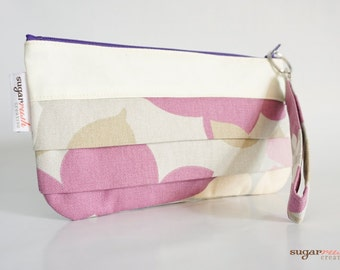 Heidi Orchid Pleated Clutch with Wristlet