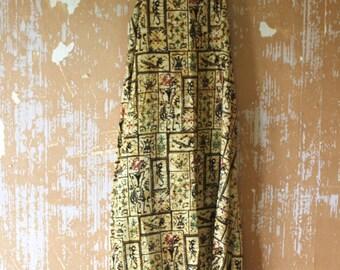 vintage.  70s Yellow Batik Cotton Halter Tent Dress // Free Size // Rare