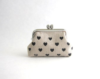 Coin Purse- mini frame jewelry case with ring pillow- hearts on beige linen