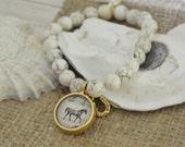 Women's Equestrian SemiPrecious Beaded Charm Bracelet - Horse
