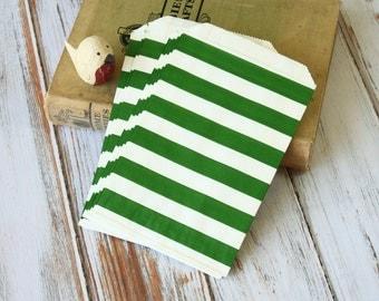 KELLY Green Big STRIPE Paper Bags