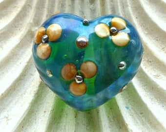 Destash  Kerribeads Lampwork Silver Blue Green Daisy Heart Focal Bead