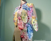 Sale - COLOR MEDLEY EXTRAVAGANCE -  Shawl/Stole/Capelet/Apron, Wearable Fiber Art, Freeform Crocheted, Top Quality Italian Yarns