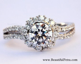 CUSTOM Made For YOU - 1.60 carat Round - Halo - Pave - Antique Style - Diamond Engagement Ring 14K white gold - Weddings - Brides - bph030