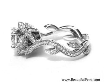 BLOOMING Work Of Art - Flower Rose  Lotus Diamond Engagement Ring - 1.60 carat - 14K white gold - fL07 Beautiful Petra Patented design