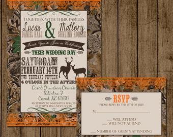 Customized Wedding Invitation Camo Orange Deer Camouflage with RSVP card Bridal Shower Hunting Redneck Wedding 5x7 Digital File jpeg pdf DIY