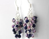 CUSTOM - Navy Blue and Purple Luster Dangle Earrings with Steel Ear Wires