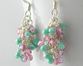 Pink and Green Dangle Earrings with Sterling or Steel Ear Wires