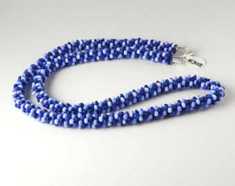 Four Shades of Blue Kumihimo Necklace