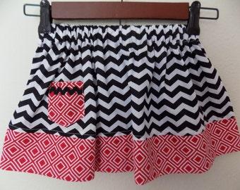 Black Chevron Girls Skirt