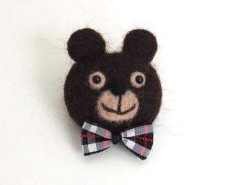 Woodland animal brooch : Needle felted bear pin - dark brown bear with a bow tie kids brooch, small animal gift.