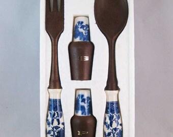 Vintage Blue Willow Salad Serving Set Spoon-Fork-S & P Set Japan