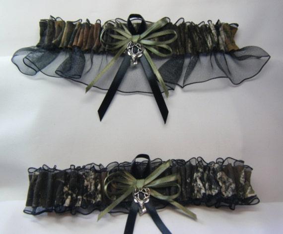 CAMO Garter Black MOSSY OAK Camouflage wedding garters Deer
