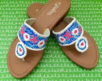 Hand Painted Sandals Inspired By Jack Rogers By Luckyleaf