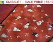 "10% OFF CIJ SALE :  Snowman Christmas Tree Skirt in Coral and Terra Cotta ""Too Many Men"""