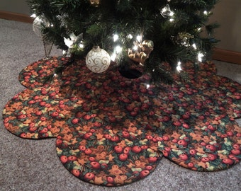 Christmas Tree Skirt with Gingerbread Cookies IN STOCK