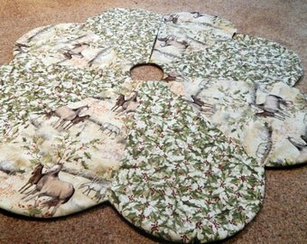 Ivory and Horses Christmas Tree Skirt in Cream and Green IN STOCK