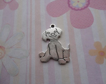 10pcs antique silver dog findings 20x30mm