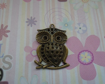 5pcs antique bronze plated owl findings 50x38mm