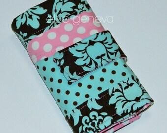 Crochet Hook Case Aqua and Brown Damask & Bubble Gum Pink Dots  or Art Pencil Case Organizer Option Sewn in Zipper Pocket Ergonomic Amour