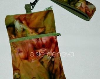 Batik Phone Case Wrisltet  Optional Shoulder Strap Top Zipper Closure iPhone 6 Plus Optional Shoulder Strap Olive Green or Leaves & Ferns