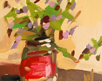 Wildflowers in Canning Jar original floral still life oil painting by Angela Moulton 5 x 5 inch on panel prattcreekart