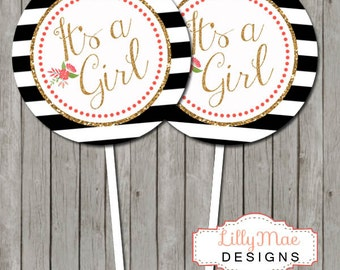 Cupcake Toppers, Printable Cupcake Toppers, Baby Girl Shower, Black Stripes Gold Glitter, Digital Cupcake Toppers, Baby Shower Favor Tags